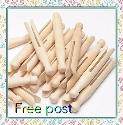 Natural Wood Dolly Pegs Wood Vintage Clothespin Doll Peg Party Craft 11cm