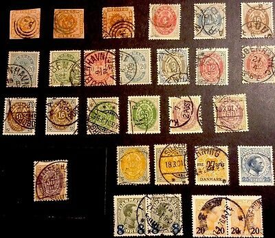 DENMARK AMAZING COLLECTION 1800s 28 Stamps Used + Inv. Frames CAT. VAL. $716.25