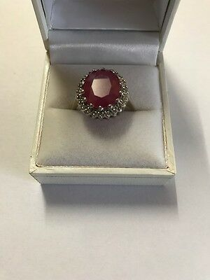 Natural 9ct Ruby and .24 carat Diamond Cluster Ring 14k White Gold