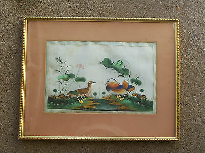 LARGE 19th CENTURY CHINESE RICE PITH PAPER PAINTING OF TWO BIRDS 33 x 23 cms