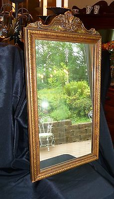 Antique Art Deco Wall Mirror Guilt Gold Wood Gesso Floral Etching 22 x 12