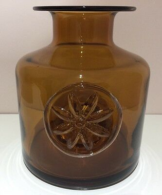 *USED* Dartington Clematis Crystal Flower Bottles Clematis Bottle In AMBER