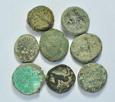 Lot of 8 Greek Bronze Coins.