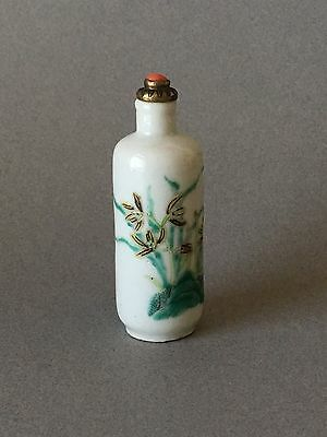 Chinese Qing Guangxu 19th C Porcelain Snuff Bottle Famille Verte Orchids Floral