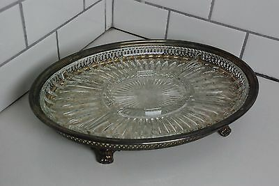 Leonard Silver plate Vented Footed Serving Tray Platter with Glass Insert