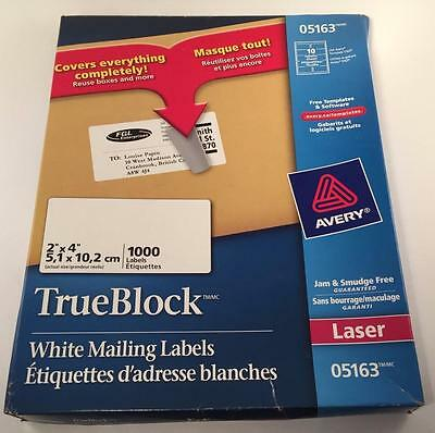 """Avery #5163 True Block White 2""""x4"""" Mailing Labels 54 Sheets Of 100 Remaining"""