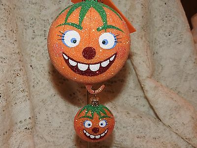 Patricia Breen Halloween Zany Pumpkin Duo 2 Part Orn. Signed By Patricia Breen