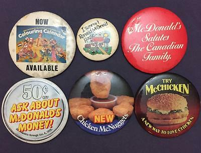 Lot Of 6 Vintage Mcdonalds Buttons Pins Pinbacks