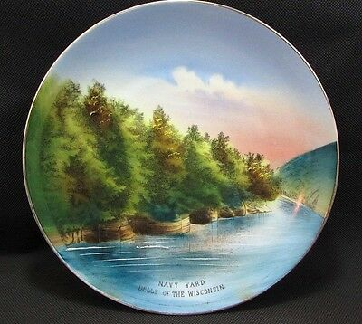 VTG Wisconsin Dells Souvenir Collector Plate Hand Painted Pre-1930's Navy Yard
