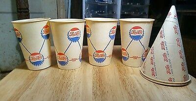 4 Vintage PEPSI:COLA Rare FOUNTAIN CUPS & 2 Vintage Paper Double Dot CONE CUPS