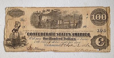 1862 Confederate States of America $100 One Hundred Dollar Bill Currency