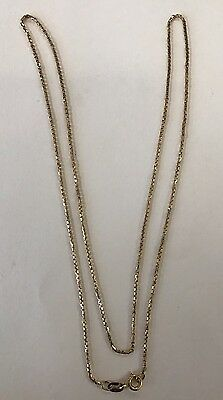 14K Solid Yellow Gold Italy Box Chain Link Necklace
