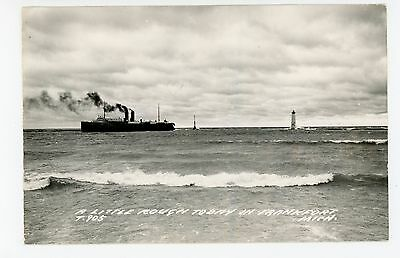 """""""Little Rough Today"""" Frankfort MI RPPC Ferry Boat & Light House Vintage Photo 50"""