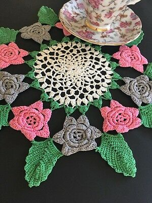 Vintage Pink, Grey And White Floral Cotton Crocheted Lace Doily