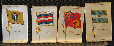 c1913 Lot of 4 Diff S33 Silk FLAGS Sovereign Cigarettes Tobacco Satin Insert