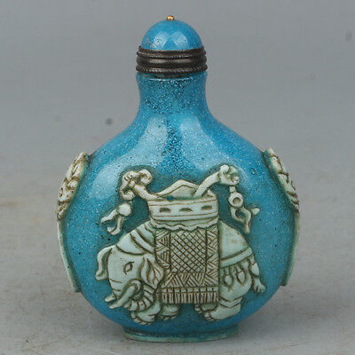 China Exquisite Hand carved Elephant pattern Glass snuff bottle