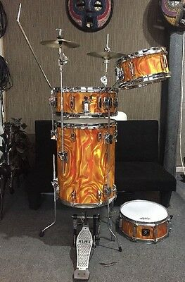 Awesome Peace 4pc Cocktail Drum Kit Drumset Orange Marmalade Flame & cymbals