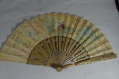 Antique French Fan Hand Painted Kidskin Leather Angels  & Children 19thC Signed