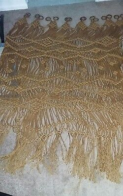 """Rare Vintage Macrame/Rope Curtain 104"""" X 74"""" With 16 Wooden Rings"""