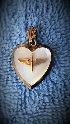 Vintage 1/20th over Sterling Air Force Pilot Heart Locket w/ Soldier Pic WW 2