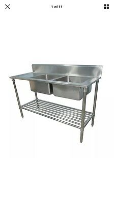 2000x800x800+100COMMERCIAL DOUBLE RIGHT BOWL KITCHEN SINK STAINLESS STEEL BENCH