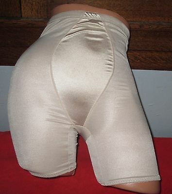 Vintage Cupid Gold Shiny Sheer Nylon Hi Waist Long Leg Panties Girdle Briefs XL
