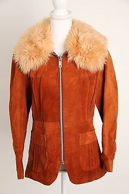 Vtg Suede Jacket Sz Small Ladies Womens Faux Fur Collar Zip Up Quebec Leather