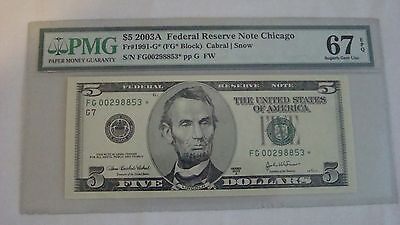 PMG EPQ 67 2003A $5 Federal Reserve Note FR#1991-G* Star Note