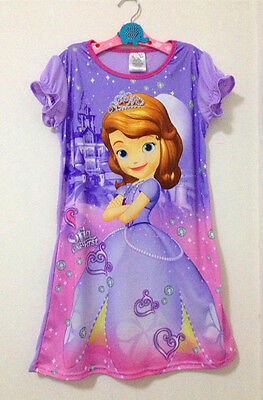 Girls Kids Sofia Princess 4-14Years Sleepwear Dress Pajamas Skirt Nightgown Xmas
