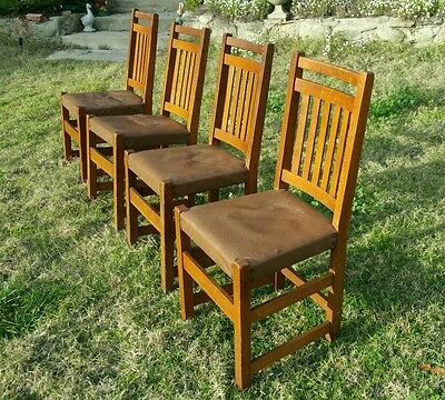 Antique 4 LIMBERT SLAT BACK DINING OAK CHAIRS ARTS & CRAFTS Mission STURDY