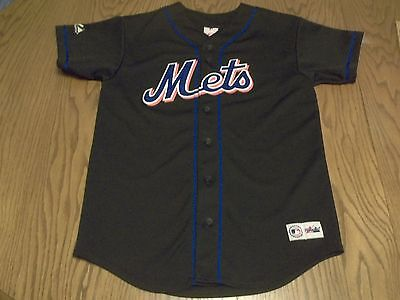 New York Mets Majestic Brand Stitched Button Up Black Jersey-Youth Xl Rare Ny
