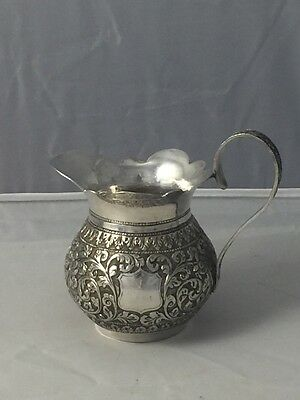 Vintage Anglo Indian Solid Silver Cream Pitcher