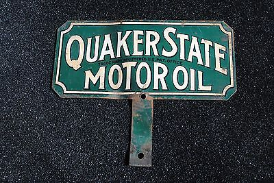 Antique Original Painted Metal Quaker State Motor Oil Plate Topper Sign
