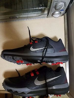 new Nike '15 TW Tiger Woods 2015 Golf Shoes Spikes Black Grey SZ 9 704884-001