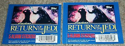 Vintage Star Wars Return of the Jedi Album Stickers two sealed packs Topps Italy