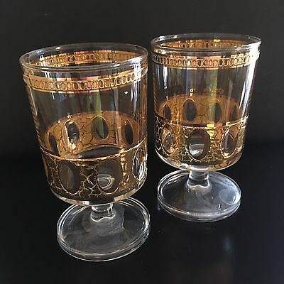 Vintage Culver Signed Antiqua Gilded Stemware Glasses, Small Size