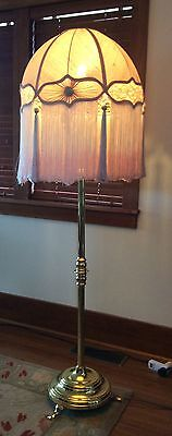 Edwardian Telescopic Standard Brass Lamp With Fringed Lace Shade