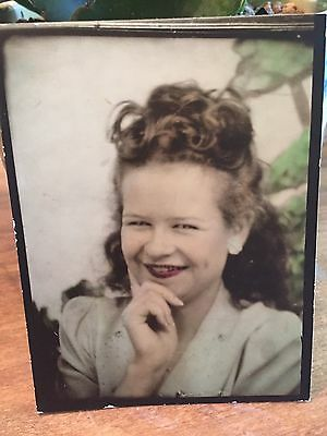 Vintage Photo Booth Arcade Photo Beautiful Young Smiling Woman Hand tinted