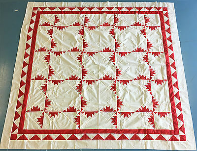 Red and White patchwork Kansas Troubles QUILT TOP - Graphic look