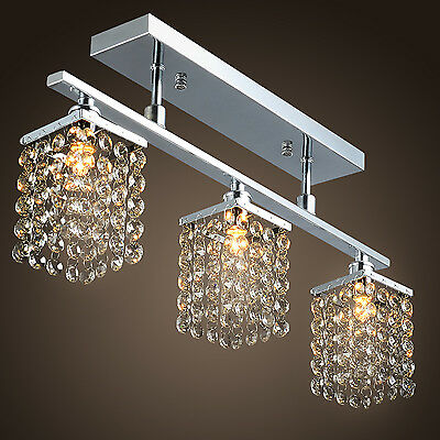 Elegant Linear Chandelier Island Light Crysal 3 Lights Lighting Fixture Lamp CA