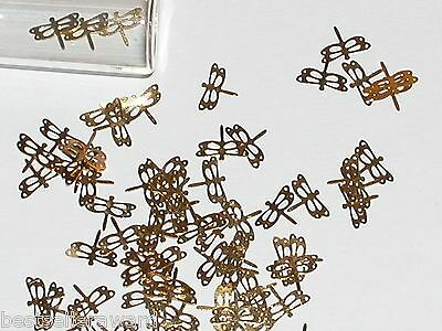 15pc Tiny metal Butterfly Dragonfly bendable rare charm fairy glitter findings *