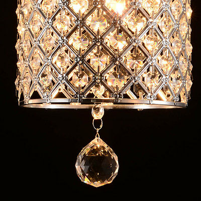 Crystal Drop Pendant Light in Cylinder Style Ceiling Hanging Lighting Fixture CA