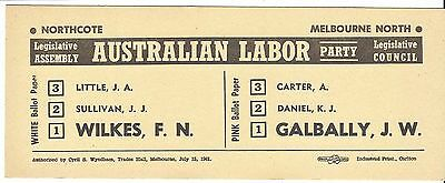 How To Vote card AUSTRALIAN LABOR PARTY 1960s NORTHCOTE & MELBOURNE NORTH