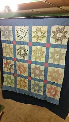 """Vintage Star Friendship Quilt Top approx. 72"""" by 84""""  Patchwork  Feed Sack ?"""