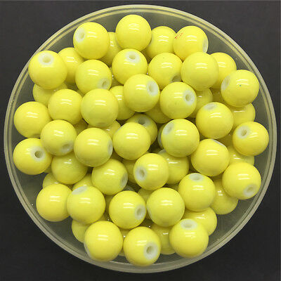 Wholesale 6mm 50 PCS Yellow Glass Round Pearl Spacer Loose Beads Jewelry Making