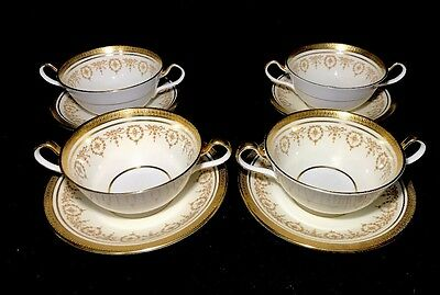 Aynsley Gold Dowery Soup Bowls With Under Plates Set Of 4 Bone China England