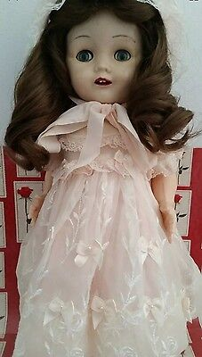 Vintage Pedigree walker doll ENGLAND flirty eyes dress bonnet panty shoes