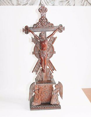 Antique Wooden Altar Crucifix, Wooden Corpus and Praying Angels