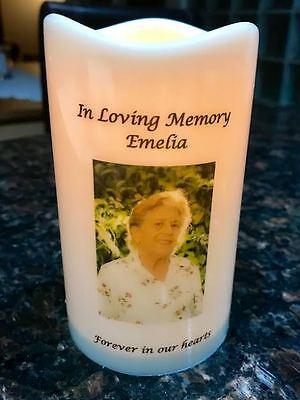 Personalised LED Flameless Pet Memorial Candle with Remote.