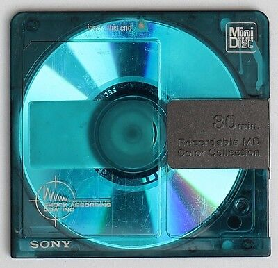 Genuine SONY 'Collor Collection' Blue Recordable MiniDisc 80 Minutes w/ Case